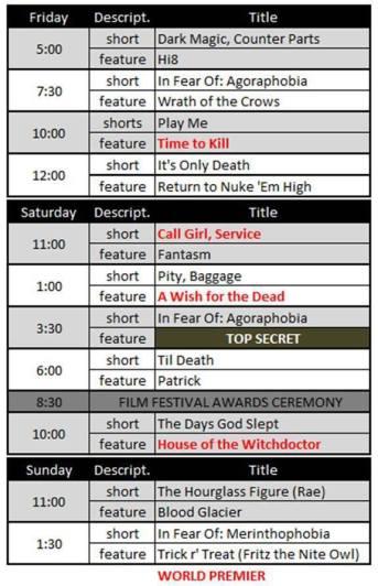 Film Festival Schedule